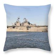 Amphibious Assault Ship Uss Wasp Throw Pillow