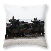 Amphibious Assault Vehicles Land Ashore Throw Pillow