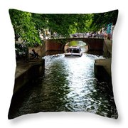 Amsterdam By Boat Throw Pillow