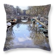 Amsterdam Canal Throw Pillow