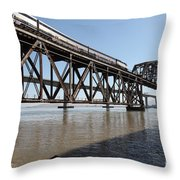 Amtrak Train Riding Atop The Benicia-martinez Train Bridge In California - 5d18829 Throw Pillow