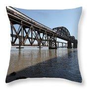 Amtrak Train Riding Atop The Benicia-martinez Train Bridge In California - 5d18830 Throw Pillow