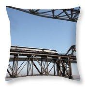 Amtrak Train Riding Atop The Benicia-martinez Train Bridge In California - 5d18837 Throw Pillow