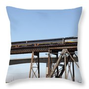 Amtrak Train Riding Atop The Benicia-martinez Train Bridge In California - 5d18839 Throw Pillow