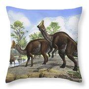 Amurosaurus Riabinini Dinosaurs Grazing Throw Pillow