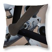 An A-10 Thunderbolt II Receives Fuel Throw Pillow