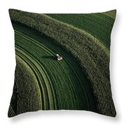 An Aerial View Of A Tractor On Curved Throw Pillow