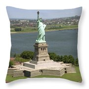 An Aerial View Of The Statue Of Liberty Throw Pillow