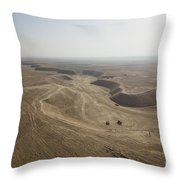 An Aerial View Of The Wadi Over Kunduz Throw Pillow