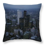 An Aerial View Of Toronto At Dusk Throw Pillow