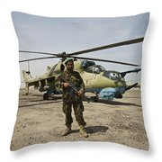 An Afghan Army Soldier Guards A Couple Throw Pillow