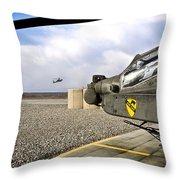 An Ah-64d Apache Helicopter Throw Pillow
