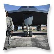 An Airman Guards A B-2 Spirit Throw Pillow