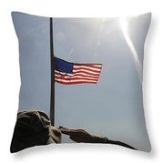 An Airman Salutes The American Flag Throw Pillow