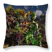 An Alien Being Blending Throw Pillow