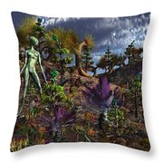 An Alien Being Surveys The Colorful Throw Pillow by Mark Stevenson