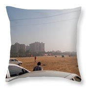 An Almost Empty Parking Lot At Surajkand Fair In India Throw Pillow