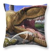 An Alvarezsaurid Bird Cleans The Mouth Throw Pillow