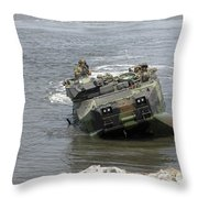 An Amphibious Assault Vehicle Climbs Throw Pillow