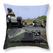 An Amphibious Assault Vehicle Enters Throw Pillow