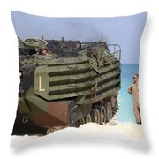 An Amphibious Assault Vehicle Is Guided Throw Pillow
