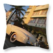 An Antique Car Parked Outside The Art Throw Pillow