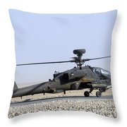 An Apache Helicopter Prepares Throw Pillow