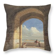 An Arch At Holy Island - Northumberland Throw Pillow