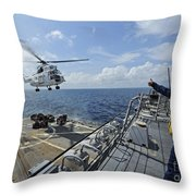 An As-332 Super Puma Helicopter Throw Pillow