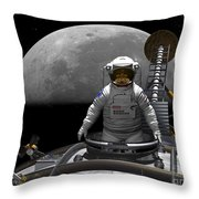 An Astronaut Takes A Last Look At Earth Throw Pillow