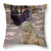 An August Afternoon At The Luxembourg Throw Pillow by Henri-edmond Cross