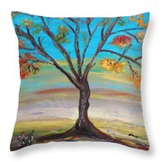 An Autumn Locust Tree Throw Pillow