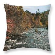 An Autumn Scene Along Little River Throw Pillow