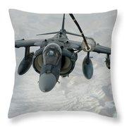 An Av-8b Harrier Receives Fuel Throw Pillow