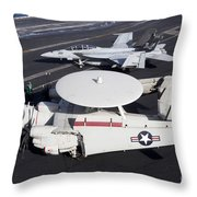 An E-2c Hawkey And An Fa-18 Super Throw Pillow