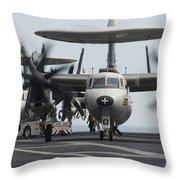 An E-2c Hawkeye Aircraft On The Flight Throw Pillow