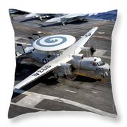 An E-2c Hawkeye Lands On The Flight Throw Pillow by Stocktrek Images