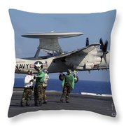 An  E-2c Hawkeye Launches From Aboard Throw Pillow by Stocktrek Images