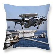 An E-2c Hawkeye Launches Off The Flight Throw Pillow