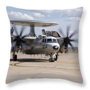 An E-2c Hawkeye On The Runway At Cannon Throw Pillow