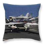 An Ea-18g Growler Lands Aboard Uss Throw Pillow