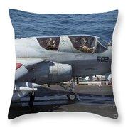 An Ea-6b Prowler During Flight Throw Pillow
