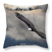 An Eagle In Flight Rising Above The Throw Pillow by Robert Bartow