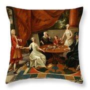 An Elegant Family Taking Tea  Throw Pillow by Gavin Hamilton