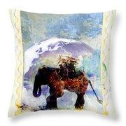 An Elephant Carrying Cargo Throw Pillow