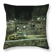 An Elevated View Of Ground Zeros Throw Pillow