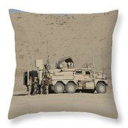 An Eod Cougar Mrap In A Wadi Throw Pillow