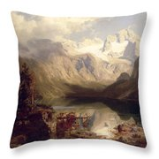 An Extensive Alpine Lake Landscape Throw Pillow