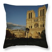 An Exterior View Of Notre Dame Throw Pillow
