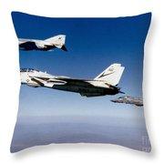 An F-14 Tomcat And Two F-4 Phantom IIs Throw Pillow